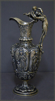Fine 19Th C Victorian Historism Silverplate Ewer Decanter Elkington No Reserve