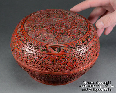 Chinese Carved Cinnabar Lacquer Box, Trees & Rocks, Scrolling Lotus, 18/19th C