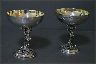 Fine Pair Sculptural Marked Spanish Gilded Solid Silver Champagne Glasses