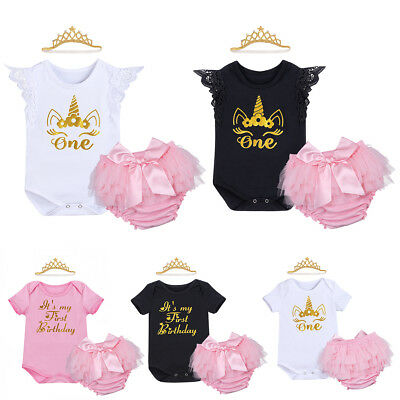 Baby Girls 1st First Birthday Outfits One Year Tutu Skirt Cake Smash Photo Props