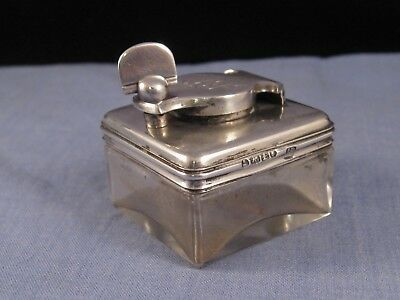 Antique Sterling Silver Lock Down Travelling Inkwell Glass Desktop Writing 1821