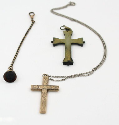 Lot Of 2 Antique Crosses 1 Gold Filled Ornate Engraving And Intaglio Fob #565-8