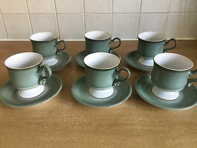 Denby Venice - 6 X Footed Cups and Saucers