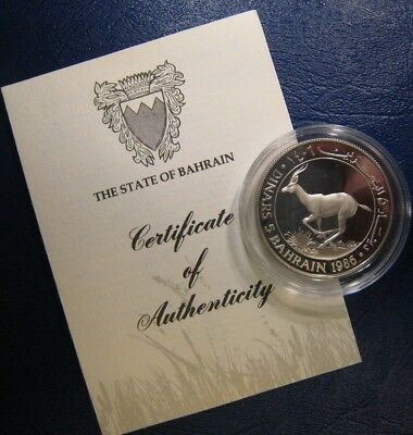 1986 State of Bahrain 5 Dinars WWF Silver Proof   ** FREE U.S SHIPPING **