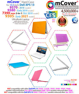 """mCover® HARD Shell CASE for 13"""" Dell XPS 13 9370 (2018) 9380 (2019) models"""