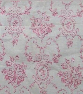 "ANTIQUE 19thC FRENCH CAMEO FLORAL ROCOCO COTTON TOILE FABRIC 65""Lx31""W PINK RED"
