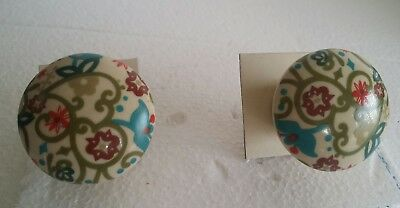 Vintage Old Collectible Door Knob Pair Made By Ceramic Golden Painted