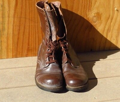 Vtg 1940's WW2 Army Airborne Brown Cap Toe Paratrooper Jump Boots 8 1/2 D