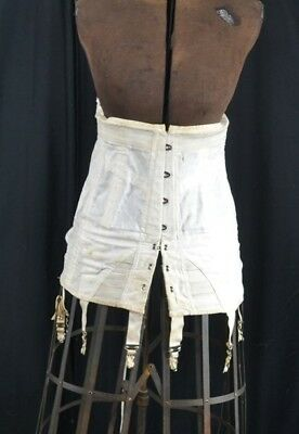 antique Edwardian corset white boned Sears sm to large garters very good  1890