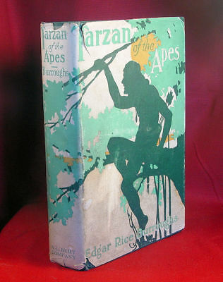 Edgar Rice Burroughs 1915 TARZAN OF THE APES w/dj- signed check-true 1st reprint