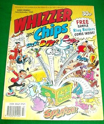 Whizzer And Chips 16/9/1989 With Free Ring Raiders Comic Still Attached Inside
