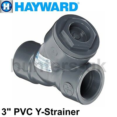 "Hayward 3"" Threaded PVC Y-Strainer FPM Seals Commercial Pipe Filter YS10300T New"