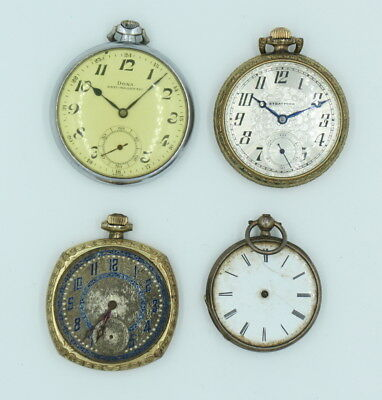 Lot Of 4 Vintage Pocket Watches For Parts Or Repair- No Reserve #569
