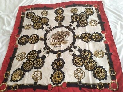 Vintage Hermes Silk Scarf 1980's Guivperies design in Red, Gold and Cream