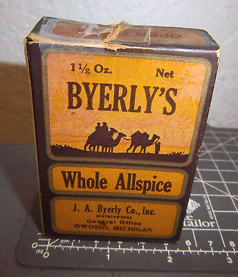 vintage Byerly's whole ALLSPICE 1.5 oz spice box, great graphics & colors, Mich.