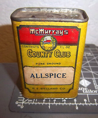 vintage McMurrays County Club ALLSPICE 1.5 oz spice tin great colors & graphics