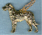 "Irish Wolfhound Gold Plated Pendant Necklace Jewelry on 20"" Chain"