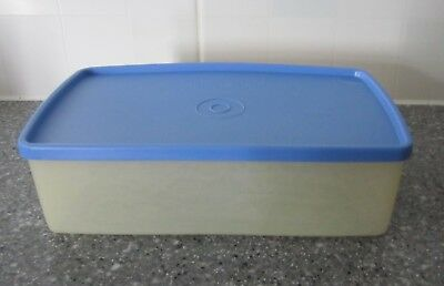 Vintage Tupperware. Rectangular storage container with blue lid. Good condition