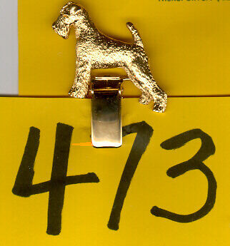Airedale Terrier Gold Plated Ring Clip Pin Jewelry