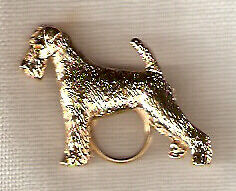 Airedale Terrier Gold Plated Eye Glass Holder Pin Jewelry