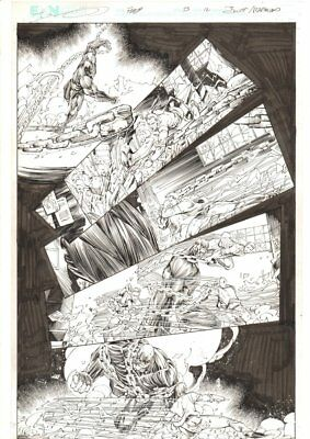 Flash #33 p.12 - Barry Allen Superspeed Action - 2014 Signed art by Brett Booth