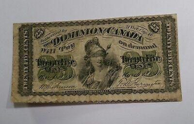 1870 DOMINION OF CANADA 25 CENTS BANK NOTE. Rare uneven cut