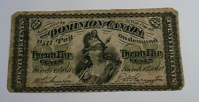1870 DOMINION OF CANADA 25 CENTS BANK NOTE. Large B