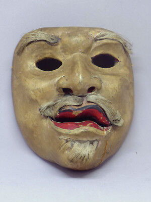 Antique Kabuki Japanese Wood Mask