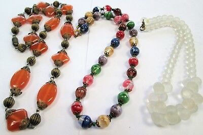 Good vintage Deco gold metal & amber glass bead necklace + 2