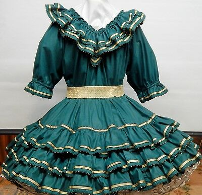 2 Piece Rhythm Creations Forest Green And Gold Square Dance Dress