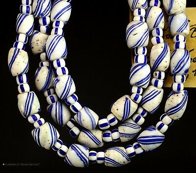 Native American White Blue Porcelain Venetian Old Trade Beads G. Lakes Indians