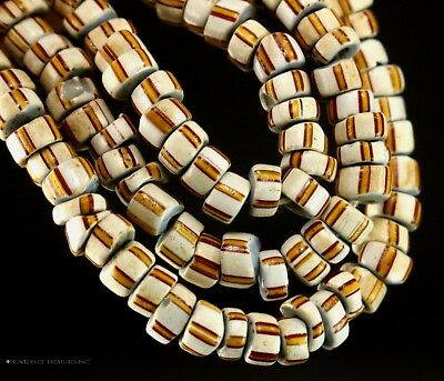 Native American Small Striped Venetian Old Trade Beads G. Lakes Indians NY 1800s