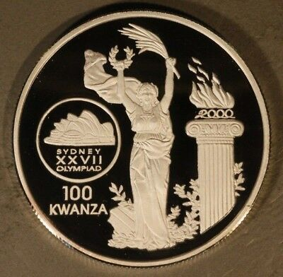 1999 Rep. of Angola 100 Kwanza Olympic Logo Silver Proof** FREE U.S. SHIPPING **