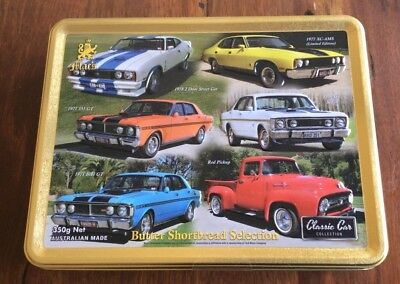 FORD CLASSIC CAR COLLECTION MAC'S BISCUITS TIN 3D EMBOSSED NEW with Biscuits