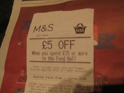 💖m&s £5 Off Food Hall Food Wine Drinks Groceries Chocolates Flowers In-Store💖