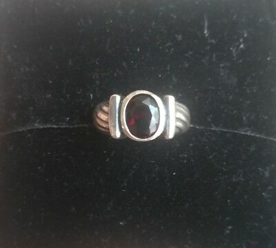 Vintage Estate Sterling Silver Ruby Ring 6 round stone antique
