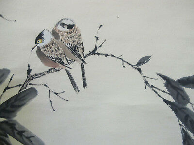 Chinese Ink Watercolour Paper Scroll Painting Birds signed Chen Banding 1939 yqz