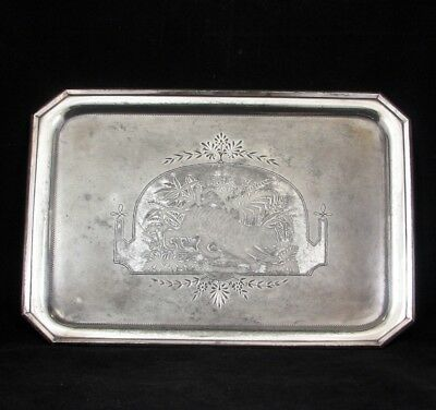 Aesthetic Movement Meriden Co. Silverplate Victorian tray with tiger c 1870