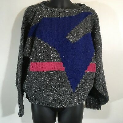 Esprit Sport Vintage Sweater 80s Geometric Colorful Bright Grey Blue Pink
