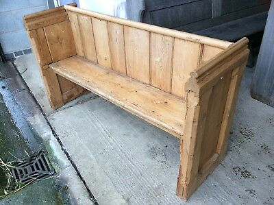 Solid antique pine Church Chapel Pew Settle seat chair dining kitchen farmhouse