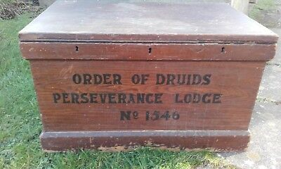 Victorian Pine Trunk/Blanket Box In Original scumble and ORDER OF DRUIDS painted