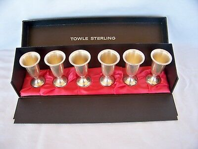 Six Towle Sterling Silver 58 Cordial Shot Glasses In Original Box