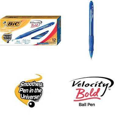 12 Piece BIC Velocity Bold Retractable Ball Pen Point 1.6mm Blue Ink Rubber Grip