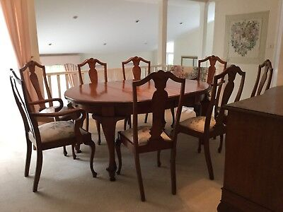 Antique Queensland Maple Dining Room Suite And Sideboard