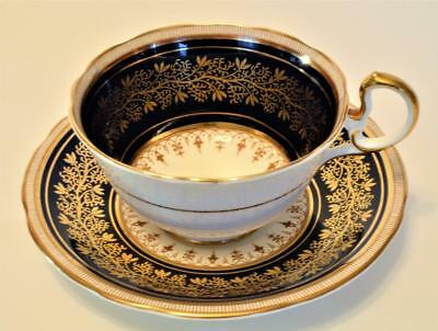 60s AYNSLEY Bone China England Black Rim w Gold Decor #4098 Set Cup & Saucer