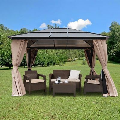 Resort 10 x 12 Hardtop Polycarbonate Roof Patio Gazebo Aluminum Poles w/ Panel