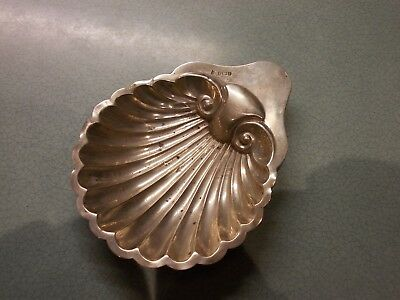 Large Antique Solid Sterling Silver Shell Oyster Butter Dish 1908? Needs Repair