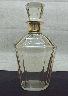 Nice Antique Art Deco Bottle Decanter Sterling Silver 925 And Crystal Art Glass