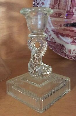 """Vintage / Antique Clear Pressed Glass Dolphin """"Dolfin"""" Candlestick 2 Part Mold"""