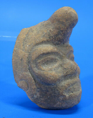 Ancient Pre-Columbian Mayan Male Head in Turban Artifact Pottery Fragment NR yqz